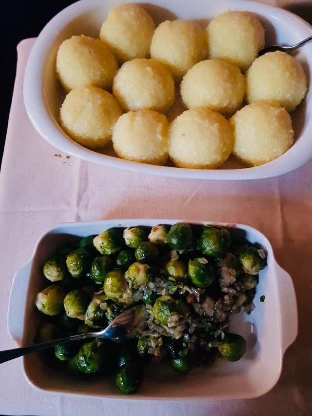 Dumplings and Brussels sprouts