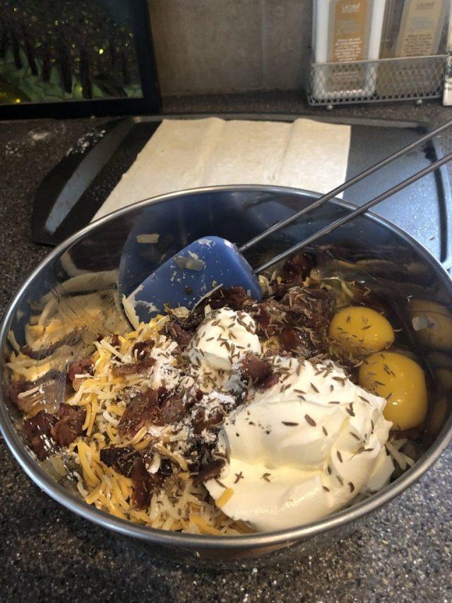 Zwiebelkuchen,, Onion Tart ingredients