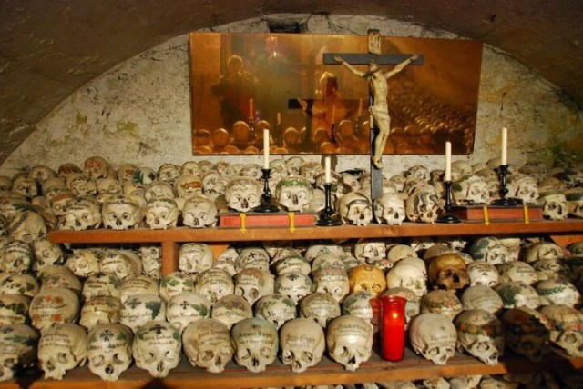 Beinhaus (Hallstatt) with Bones and Skulls