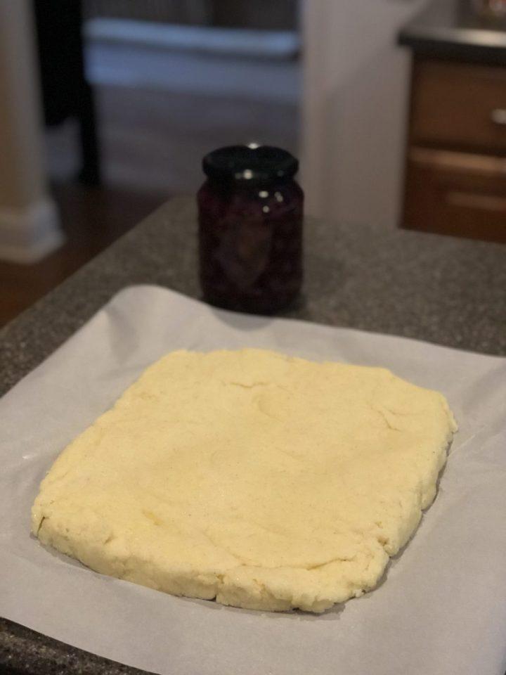 Semolina flour cakes, Griess Schnitten dough