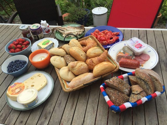 German Breakfast, Rolls and Lunchmeat, cheese, fruit