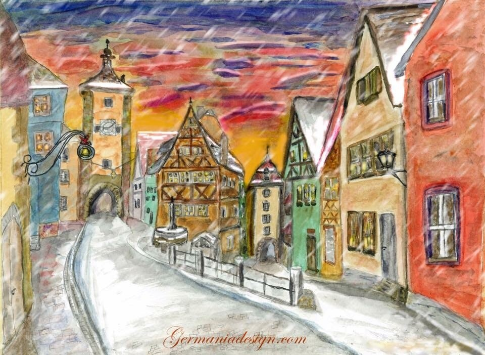 Rothenburg in Winter, Snow painting