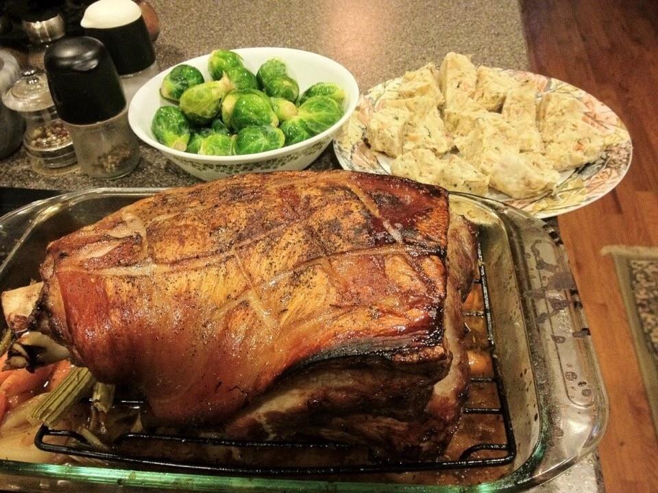 Bavarian pork roast, Krustenbraten. Schweinebraten