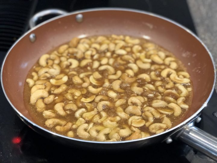 candied cashews preparation in pan