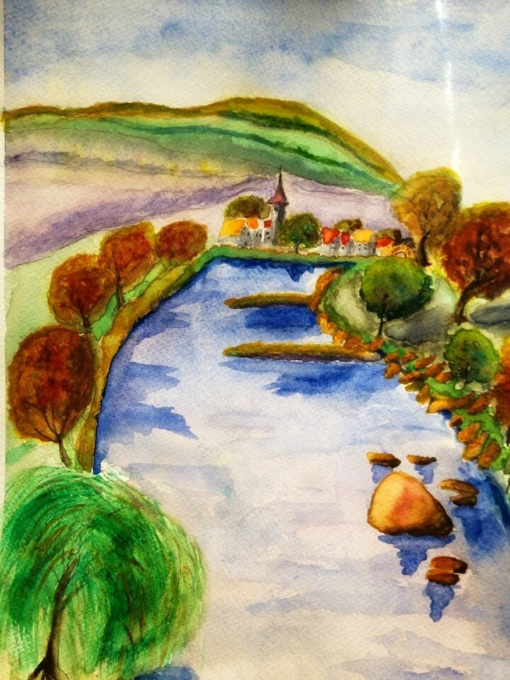 Main River Scene Franconia painting by Germaniadesign.com