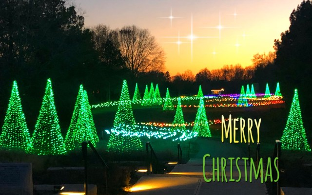 Merry Christmas postcard, Daniel Stowe Botanical gardens in Belmont NC