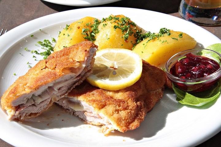 Cordon Blue Schnitzel with potatoes