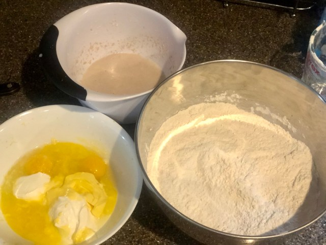 Yeast dough, Easter yeast bread, Osterbrot preparation