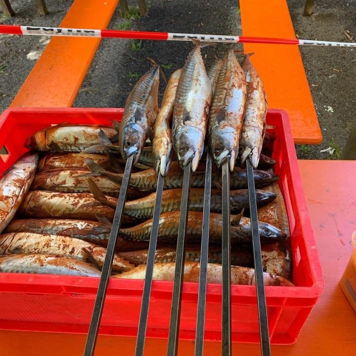 Steckerlfish. Spanish Makrele, Fish on a stick