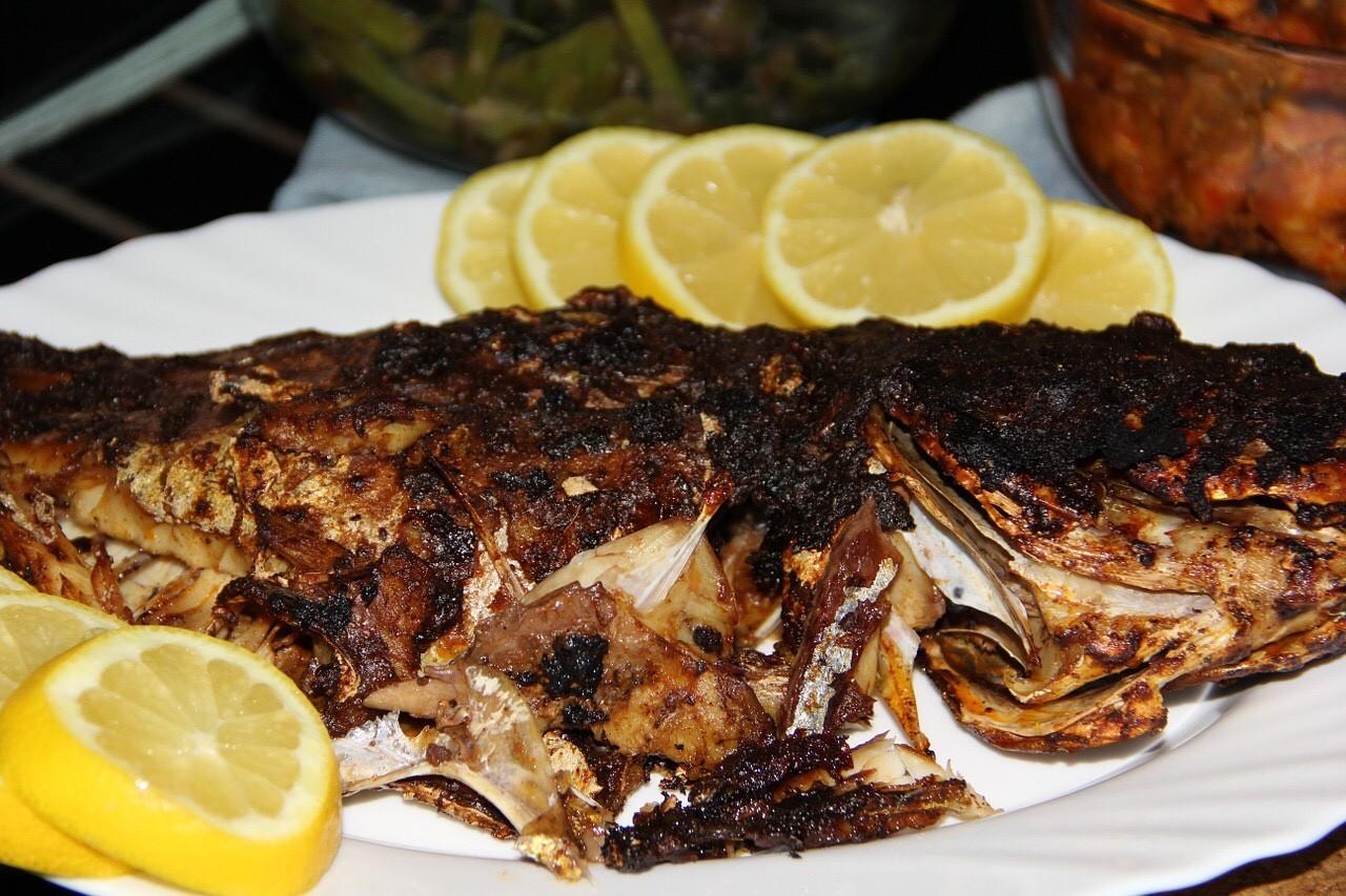 Steckerlfisch. Spanish Makrele, Fish on a stick