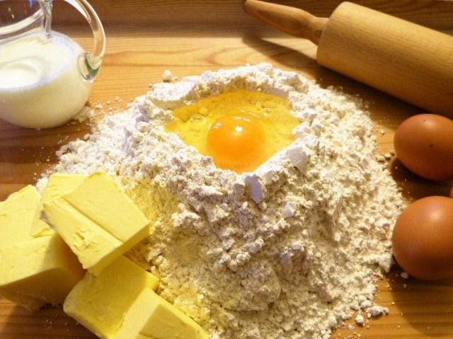 Flour, milk, egg and butter