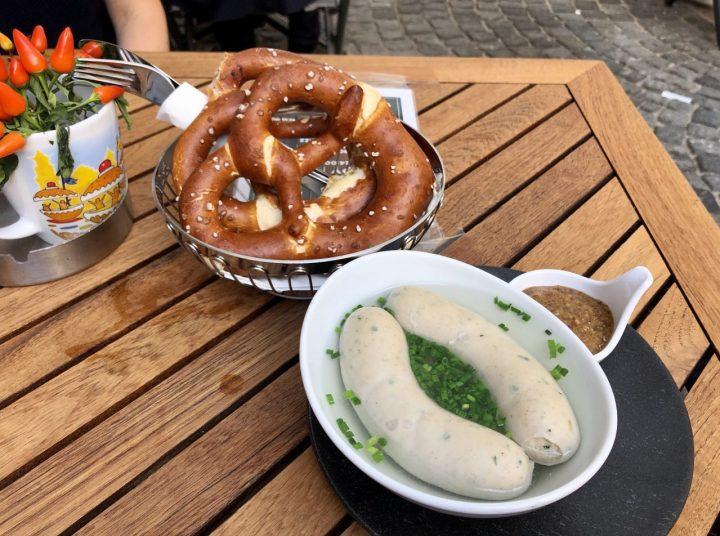 Weisswurst. Pretzel, Mustard, Munich