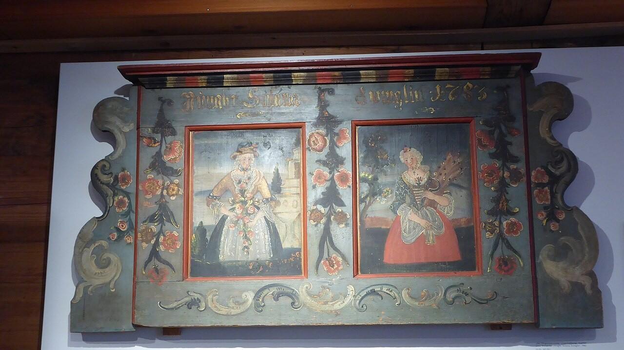 Ackerhaus betthaupt, painted folk art
