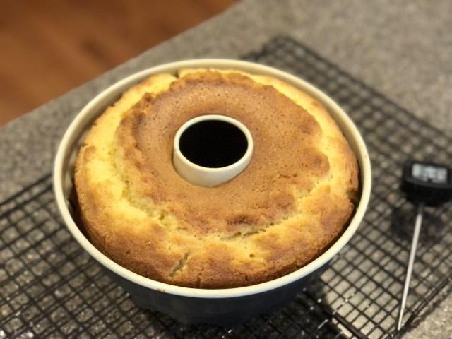 baked Eggnog liquor cake in Guglhupf form
