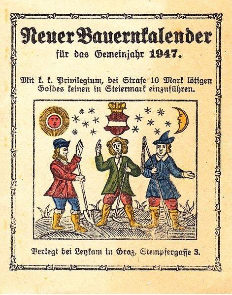 Bauernkalender, German Almanac 1947