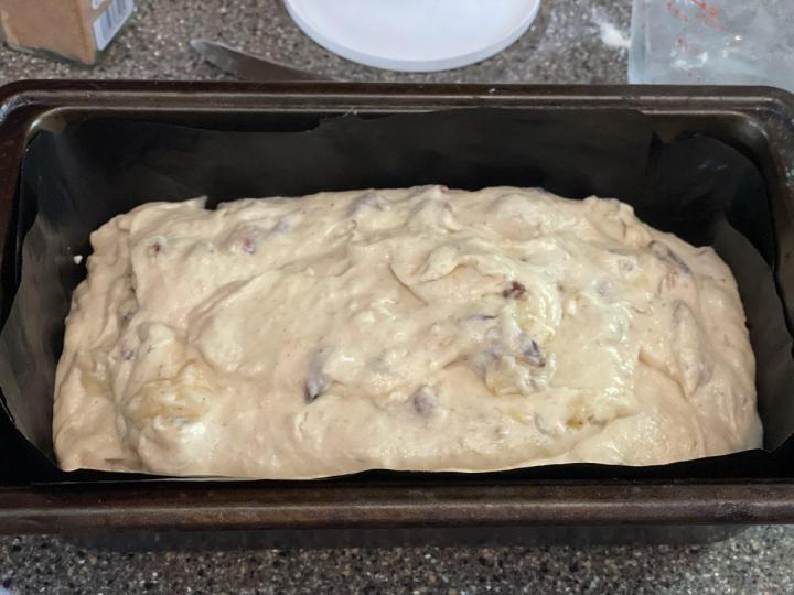 Banana Walnut Bread batter ready for the oven