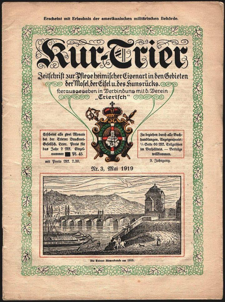 Römerbrücke Newspaper The Kurier 1815 (per Wikimedia)
