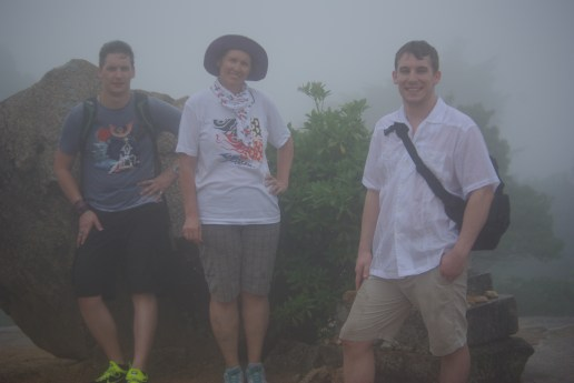 "We are in the middle of asending Mt. Misen. ""A little hike"" Rich said that wasn't that little. Yes that's a tropical rainstorming us."