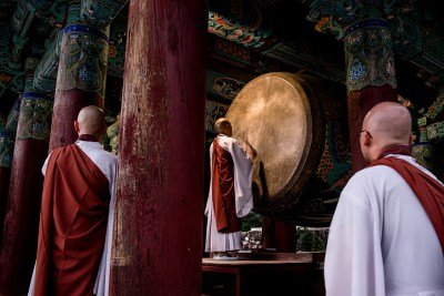 Monks at Haeinsa Temple, South Korea by Chris Cusick