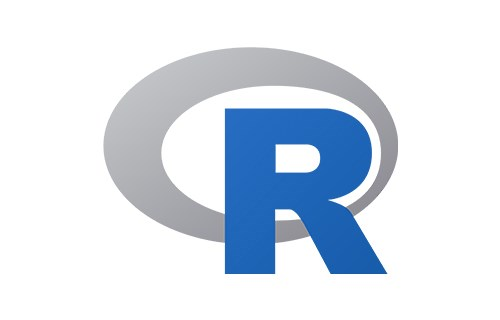 R logo. Blue capital letter R wrapped with a gray oval.