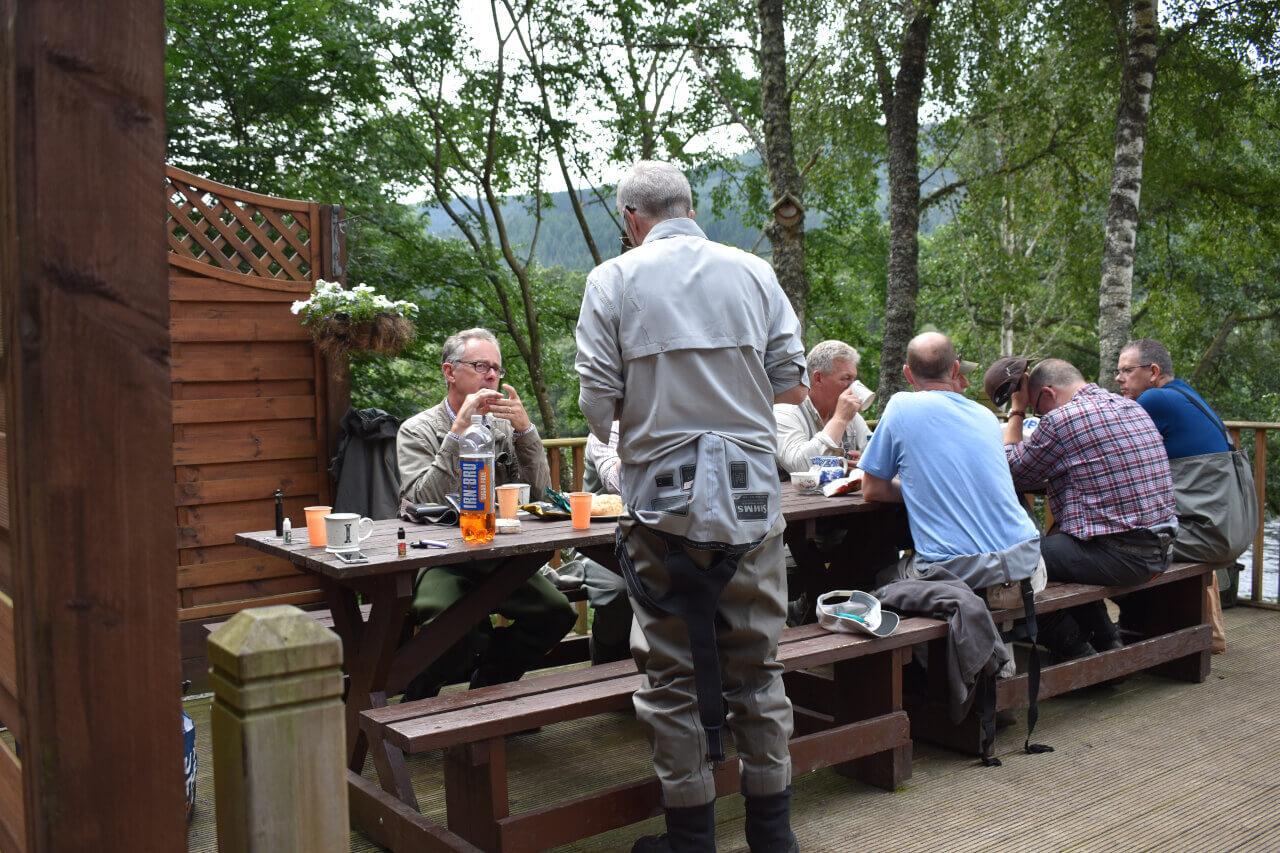 Salmon fishing in Scotland lunch break
