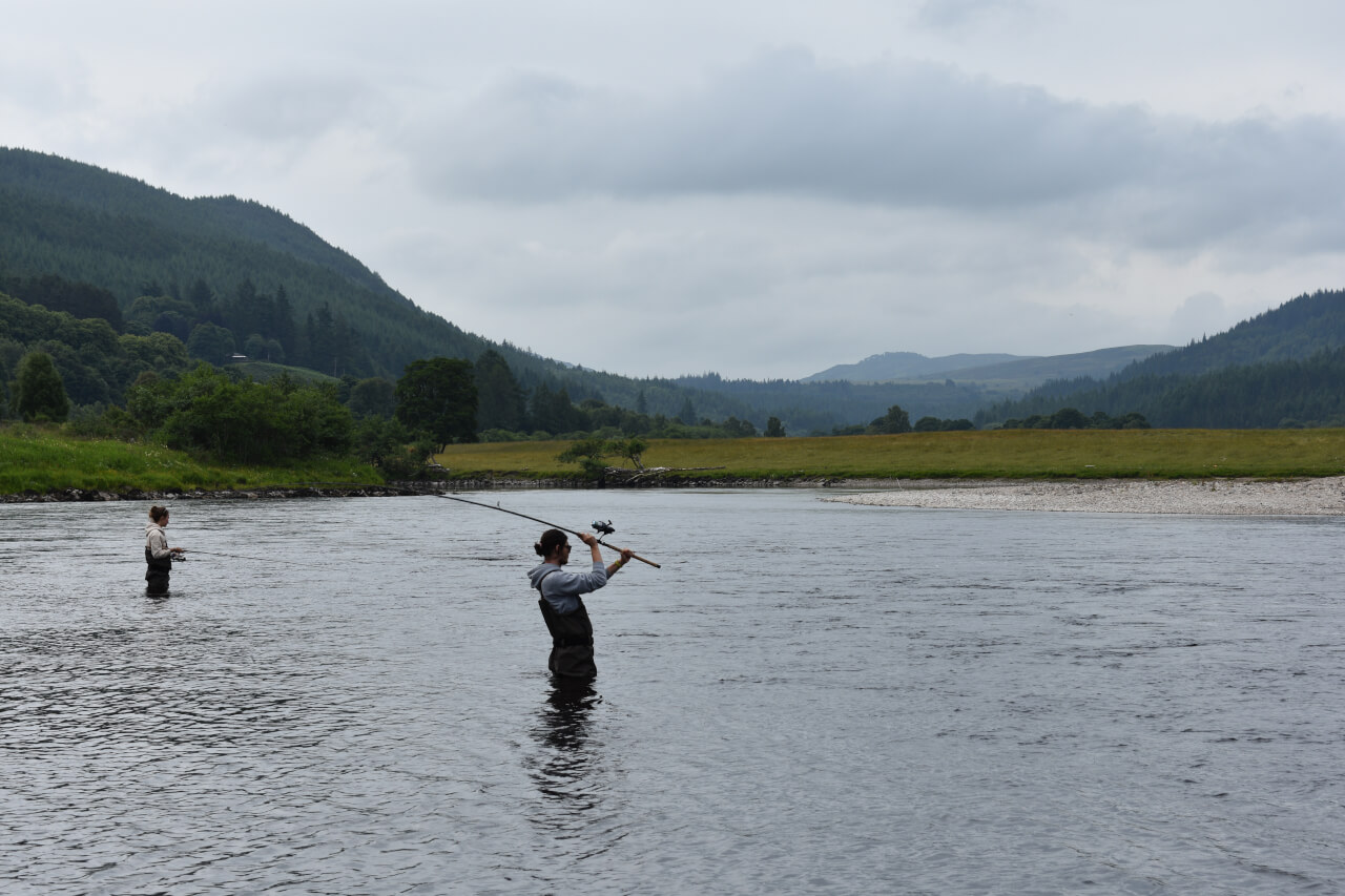 Spinning for salmon on Scottish River