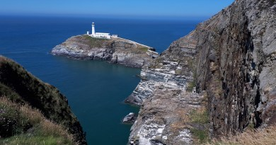 The image shows the cliff and light house at southstack
