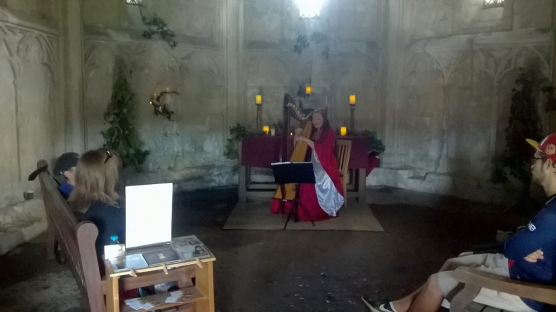 The image show the re-enactment of a minstrel in a room in Beaumaris Castle, a lady is playing a harp and singing for onlookers