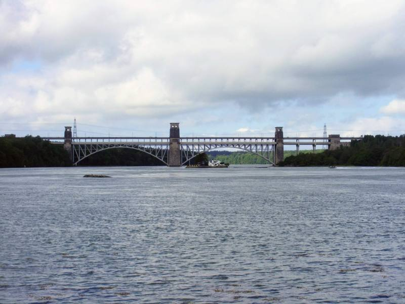 a picture  of Britannia bridge from the Meani, its one of the places puffin island cruises sail to