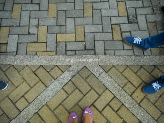 Here's an interesting feature of the campus ground. As you can see, the pattern of the tiles used is dissimilar. This is because they mark the two areas where FEU lies: the right side is Sampaloc, while the left is Quiapo. Now, you can be in two places at one time!