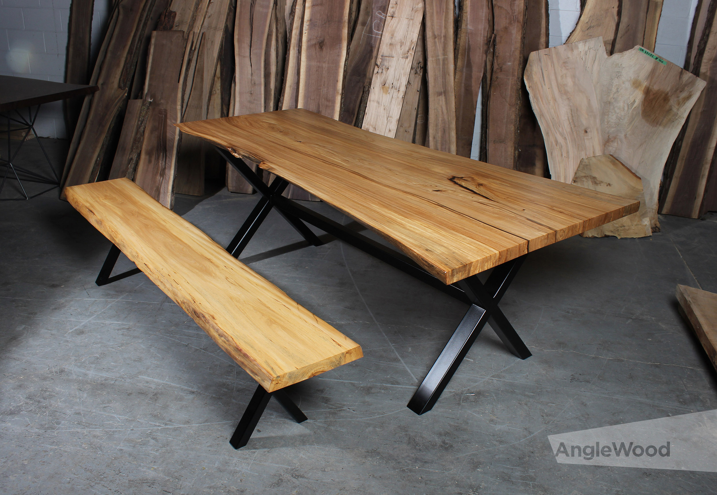 elm single slab live edge dining table and bench x legs
