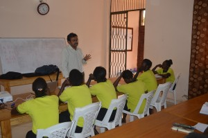 Dr Anil Cherian teaching 2nd years, health training, South Sudan