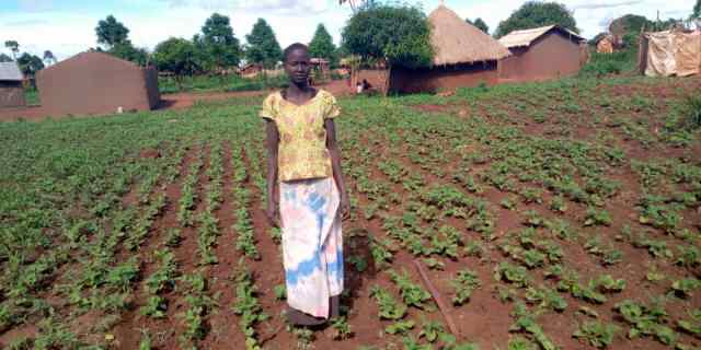 Foundations for Farming participant Awak Agwer on her plot of land