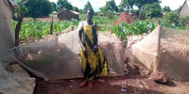 Foundations for Farming participant Mary Awak with the onion nursery