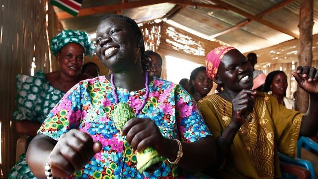 Ladies worship in South Sudan church