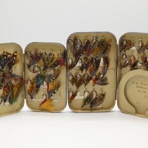 A Malloch japanned rectangular salmon fly box,