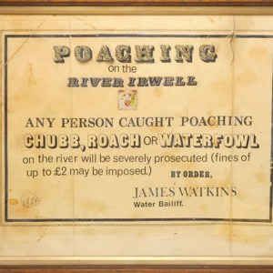 A 19th Century printed card Poachers Notice for the River Irwell,