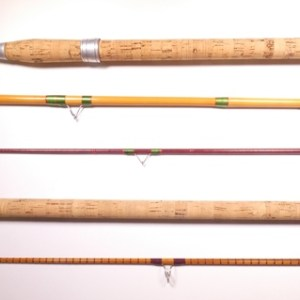 """A scarce Allcock """"Holdwell"""" 3 piece whole cane and fibre glass tipped float rod,"""