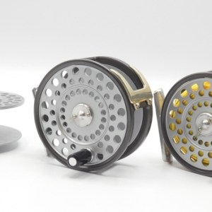 """A good Hardy Zenith 3 ⅜"""" wide drummed trout fly reel and spare spool,"""