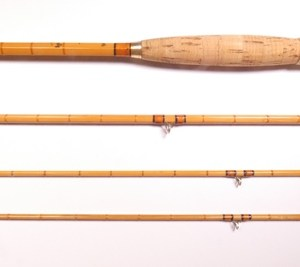 """A good Hardy """"Hollolight"""" 3 piece (2 tips) cane trout fly rod,"""