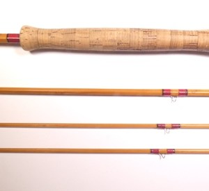 """A Hardy """"Salmon Deluxe"""" 3 piece (2 tips"""" cane single handed salmon fly rod,"""