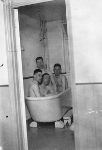Fulham players enjoy a brine bath in Southend, 1930