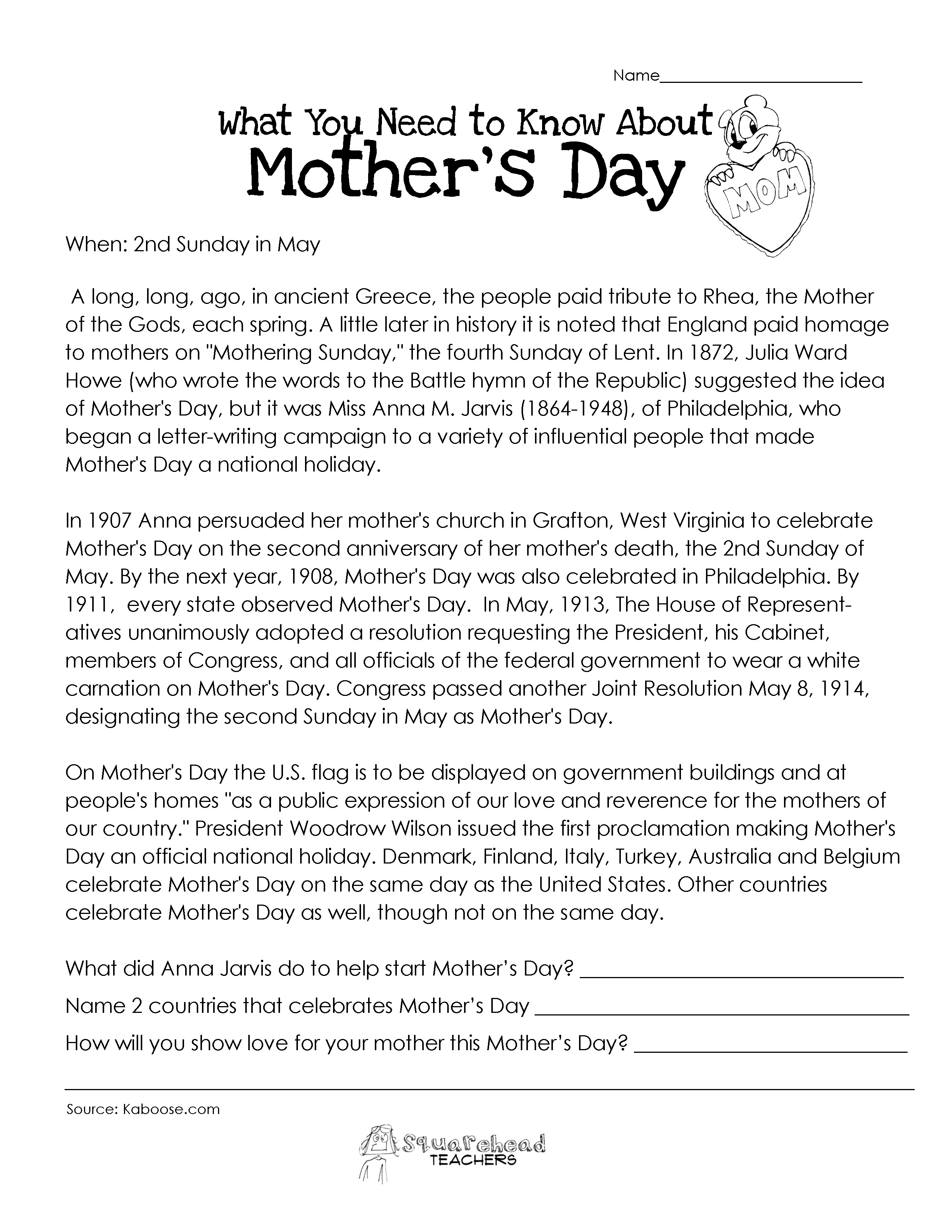 Mother S Day Worksheets Anglokids