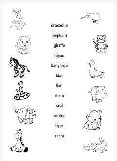 Wild Animals vocabulary for kids learning English