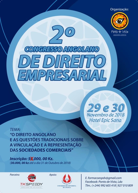 Cartaz I 2.o Congresso Angolano de Direito Empr esarial I 29-30.11.18 I H.Epic Sana (Luanda)