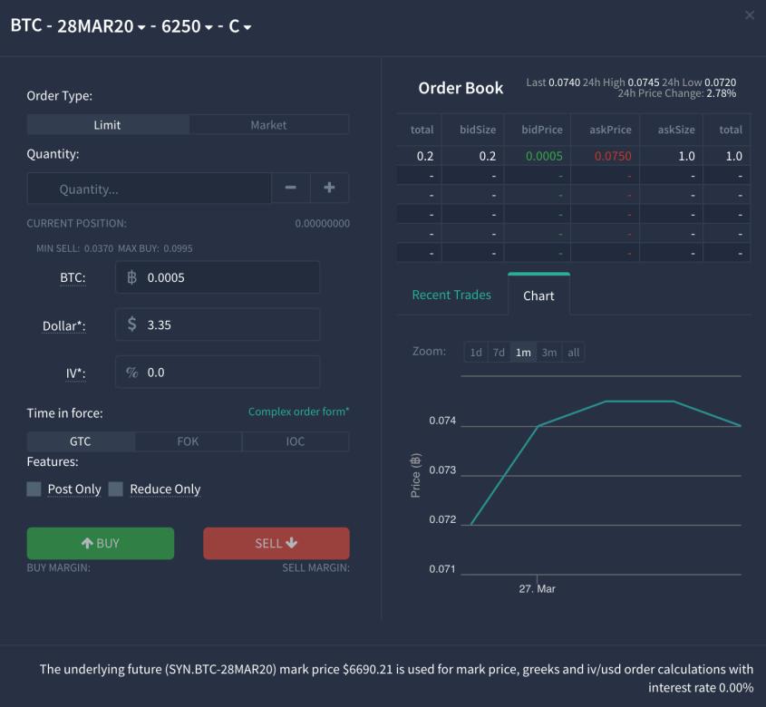 Order box for BTC options trade, Deribit WebTrader
