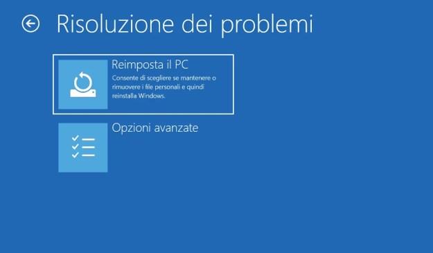 risoluzione dei problemi > opzioni avanzate