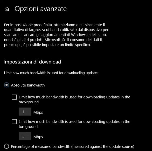 Nuovi limiti da impostare per Windows Update