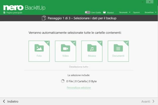 Tutti i contenuti multimediali vengono ricercati e proposti per il backup