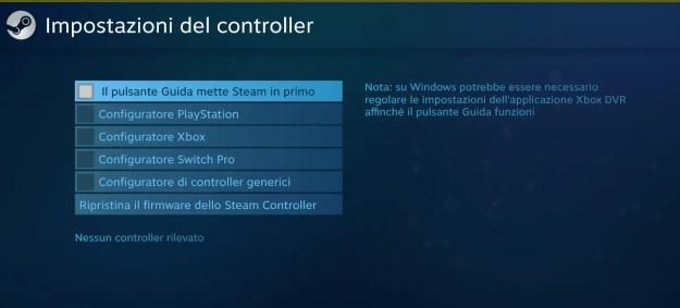 Impostazioni del controller di steam